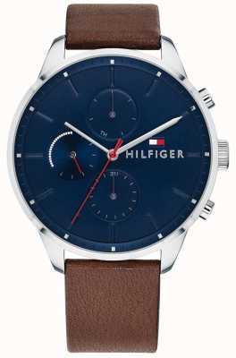 Tommy Hilfiger Мужская погоня хронограф коричневый кожаный браслет синий циферблат 1791487