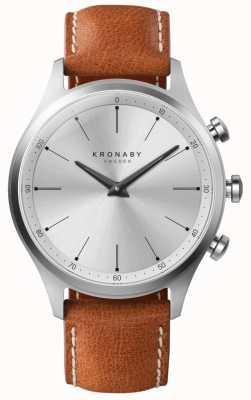 Kronaby 41мм секель серебряный циферблат коричневый кожаный ремешок A1000-3125