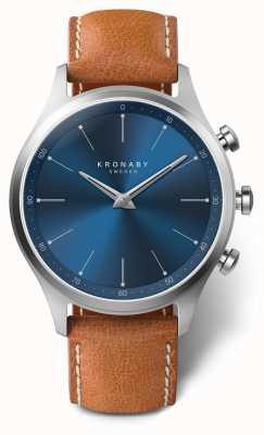 Kronaby 41мм секел синий циферблат коричневый кожаный ремешок a1000-3124 S3124/1