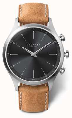 Kronaby 41мм секел черный циферблат коричневый кожаный ремешок a1000-3123 S3123/1