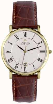 Michel Herbelin Классический дисплей даты золотой корпус из нержавеющей стали коричневая кожа 12248/P08MA