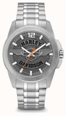 Harley Davidson Циферблат с логотипом, серебряный корпус и браслет из нержавеющей стали 76A157