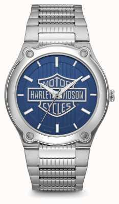 Harley Davidson Браслет из нержавеющей стали с синим циферблатом с логотипом 76A159