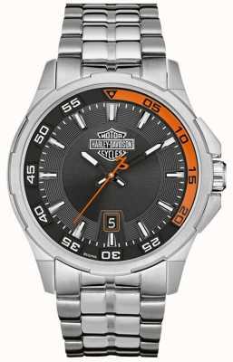 Harley Davidson Темно-серый дисплей даты набора из нержавеющей стали браслет 76B170
