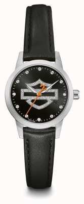 Harley Davidson Женский комплект с кристаллами черный циферблат с логотипом черный кожаный ремешок 76L181