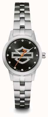 Harley Davidson Черный логотип кристалл набор циферблат браслет из нержавеющей стали 76L182