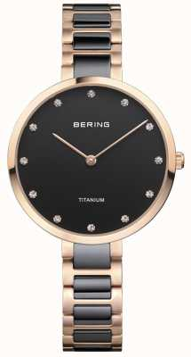 Bering Розовое золото и черный титановый набор 11334-762