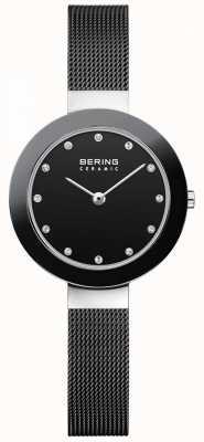 Bering Кристалл набор циферблат керамический окантовка черный сетчатый браслет 11429-102