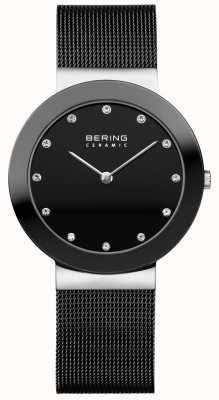 Bering Кристалл набор циферблат керамический окантовка черный сетчатый браслет 11435-102