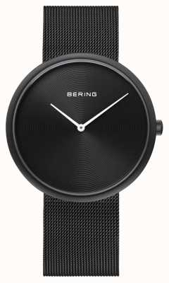 Bering Классический матовый черный циферблат черного сетчатого ремня 14339-222
