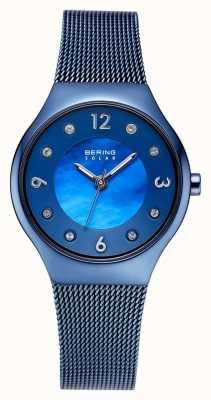 Bering Солнечный полированный синий циферблат и синий сетчатый браслет 14427-393
