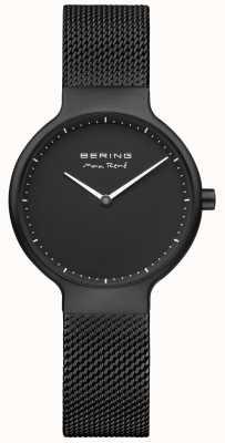 Bering Макс rené черный матовый циферблат и черный ip plated сетчатый ремень 15531-123