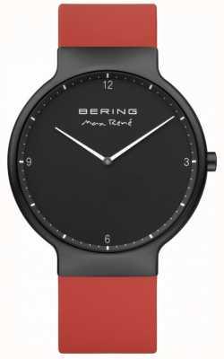 Bering Max rené black ip plated case красный силиконовый ремешок 15540-523