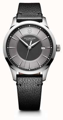 Victorinox Swiss Army Альянс большой 40мм серый циферблат черный кожаный ремешок 241804