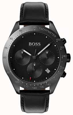Boss Хронограф Talent черный циферблат с датой даты черная кожа 1513590