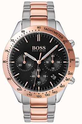 Hugo Boss Мужской талант черный циферблат розового золота и серебра двухцветный браслет 1513584