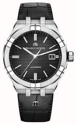 Maurice Lacroix Часы Aikon с черным кожаным циферблатом AI6008-SS001-330-1