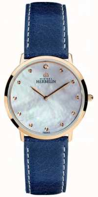 Michel Herbelin Женская ikone синяя кожаный ремешок из перламутрового циферблата 16915/PR59BL