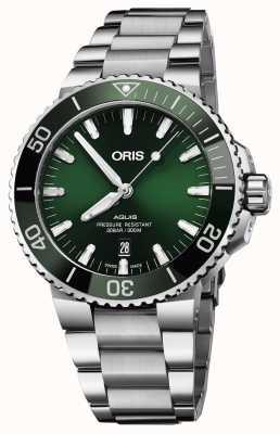 Oris Mens aquis date зеленый набор металлический браслет 01 733 7730 4157-07 8 24 05PEB