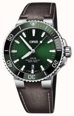 Oris Мужчина aquis date зеленый циферблат черный коричневый ремешок 01 733 7730 4157-07 5 24 10EB