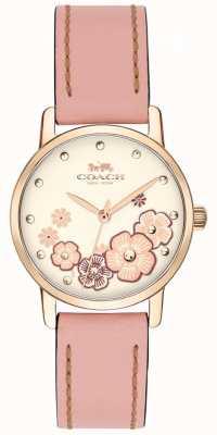 Coach Женские розовые кожаные ремни кремовый цветочный циферблат 14503060