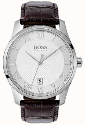 Hugo Boss Мужские часы с серебряным циферблатом коричневые кожаные часы 1513586