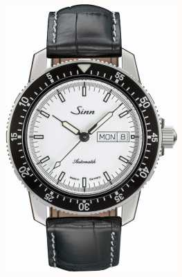 Sinn 104 st sa iw классический пилот-часы с аллигатором с тиснением 104.012 BLACK EMBOSSED LEATHER