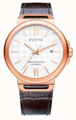 FIYTA Индивидуальная автоматическая коричневая кожа с белым циферблатом сапфира GA852000.PWK