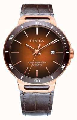 FIYTA Соло автоматическая коричневая кожа коричневый циферблат сапфира GA852001.PKK