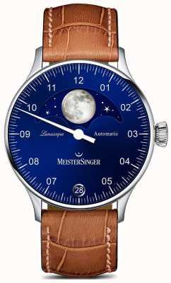 MeisterSinger Pangea Lunascope коричневый ремешок синий циферблат LS908
