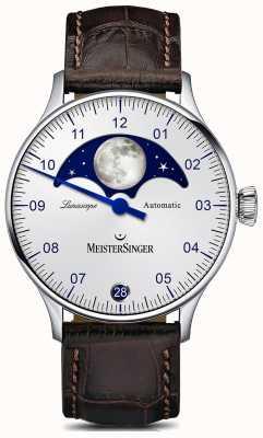 MeisterSinger Pangea lunascope серебристый циферблат коричневый кожаный ремешок LS901