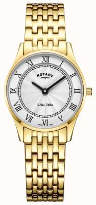 Rotary Женщин ультра тонкий золотой тон браслет белый циферблат LB08303/01