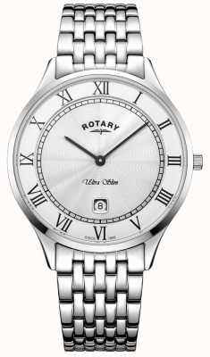 Rotary Мужские ультратонкие белые циферблаты из нержавеющей стали GB08300/01