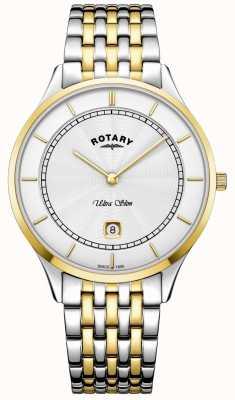 Rotary Мужская ультратонкий белый циферблат с золотым корпусом из нержавеющей стали GB08301/02