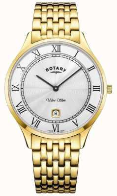 Rotary Мужские ультратонкие белые циферблаты из нержавеющей стали из нержавеющей стали GB08303/01