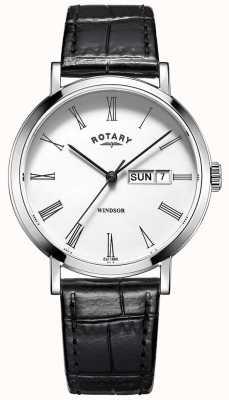 Rotary Мужские часы windsor с черным кожаным ремешком GS05300/01