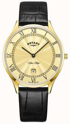 Rotary Мужские ультратонкие черные кожаные ремешки GS08303/03