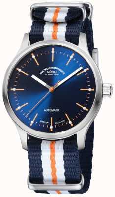 Muhle Glashutte Panova bleu ограниченный выпуск синтетического сине-оранжевого ремешка M1-40-72-NB