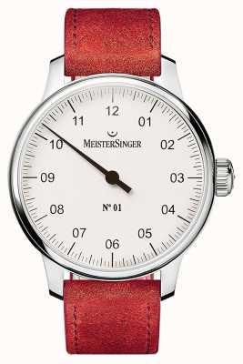 MeisterSinger № 1 40 мм и рана sellita замшевый красный ремешок DM301