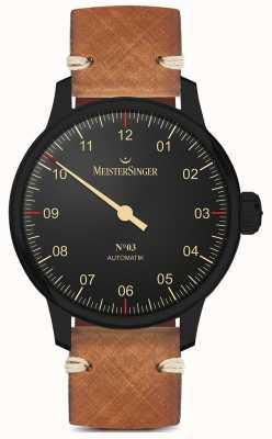 MeisterSinger Одиночная рука черная линия светло-коричневый кожаный ремешок AM902BL