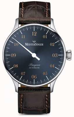 MeisterSinger Pangea автоматический стальной синий циферблат темно-коричневый croc print PM917G