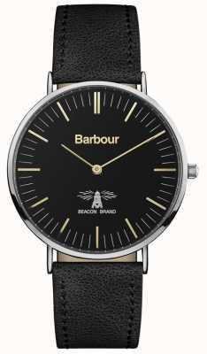 Barbour Мужская черная кожаный ремешок черного циферблата BB055BKBK