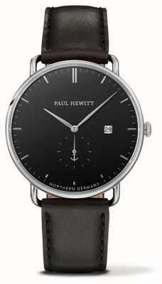 Paul Hewitt Большой атлантический черный кожаный кварц PH-TGA-S-B-2M