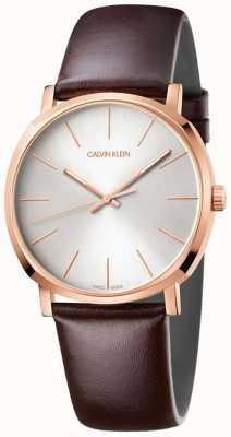 Calvin Klein Мужские коричневые кожаные ремешки из розового золота K8Q316G6