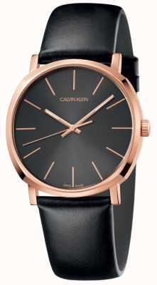 Calvin Klein Мужские черные кожаные часы с розовым золотом K8Q316C3