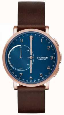 Skagen Хаген подключен смарт-часы коричневый кожаный ремешок синий циферблат SKT1103