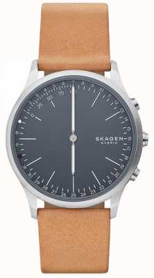 Skagen Юрн подключил смарт-часы коричневый кожаный ремешок синий циферблат SKT1200
