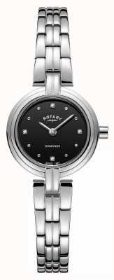 Rotary Женские бриллианты черный браслет из нержавеющей стали LB00410/15