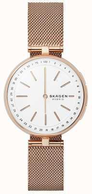 Skagen Signatur подключен смарт-часы розового золота сетки белый циферблат SKT1404