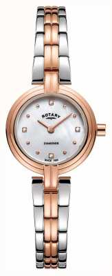 Rotary Женские бриллианты с двумя тонами розового золота из нержавеющей стали LB00412/41